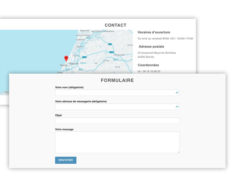 onePAGE : formulaire et coordonnées