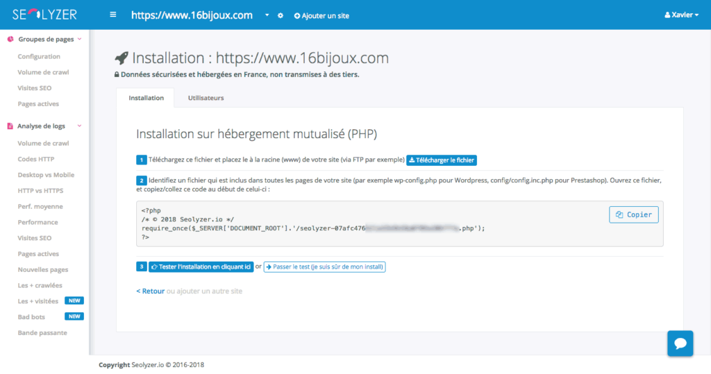 Seolyzer.io - Installation du code