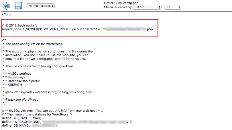 Seolyzer - Configuration du fichier config.php
